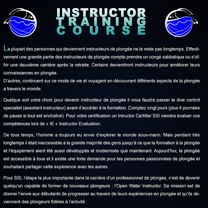 Formation pro Instructeur de plongée SSI