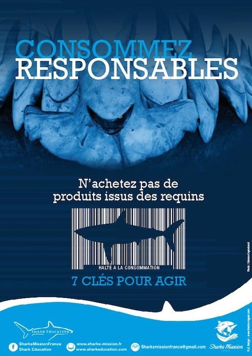Enseigne Requin Pro Responsable, vous aussi agissez pour stopper le commerce de produits issus du requin en France